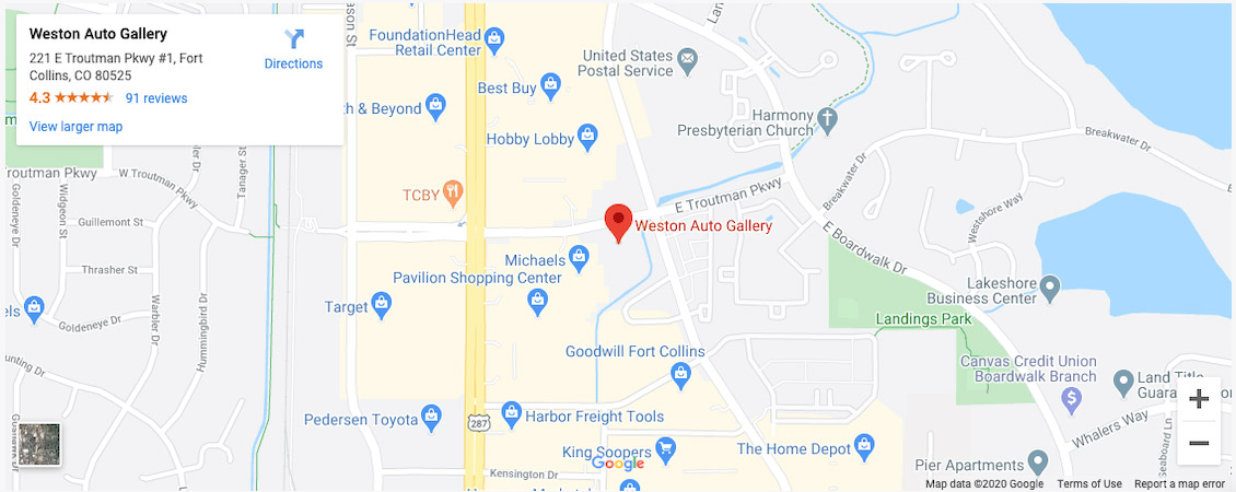 Weston Auto Gallery Fort Collins Colorado Pre-owned auto dealership google maps location - screenshot
