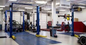 weston auto service photo showing inside of high class service center garage
